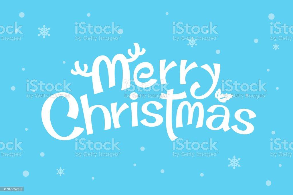 Frohe Weihnachtentext Weiße Schrift Auf Blauem Hintergrund ...