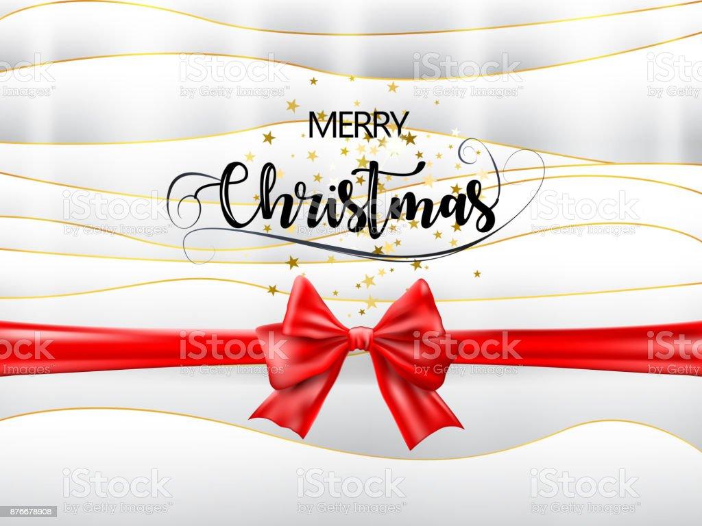 Frohe Weihnachten Band.Frohe Weihnachten Text Mit Rotem Band Und Goldenen Sternen Auf Weiß
