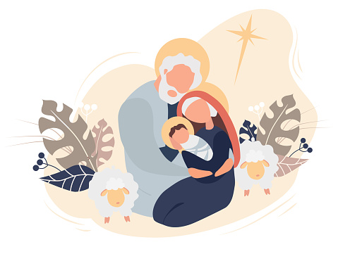 Merry Christmas. The birth of the baby Savior Jesus Christ. Virgin Mary and Joseph Holy Family, star of Bethlehem and sheep on a pink background with tropical leaves and decor. Vector