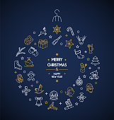 Merry christmas thin line icons circle vector card background
