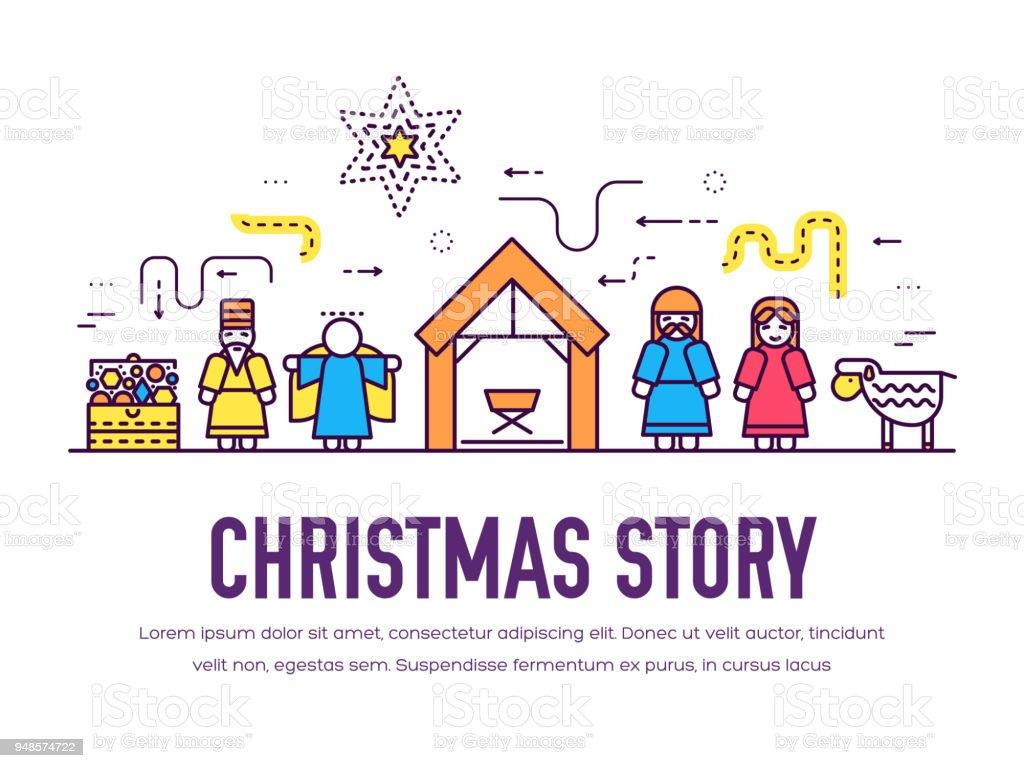 Frohe Weihnachten Dünne Linie Symbole Flachen Hintergrund Einstellen ...