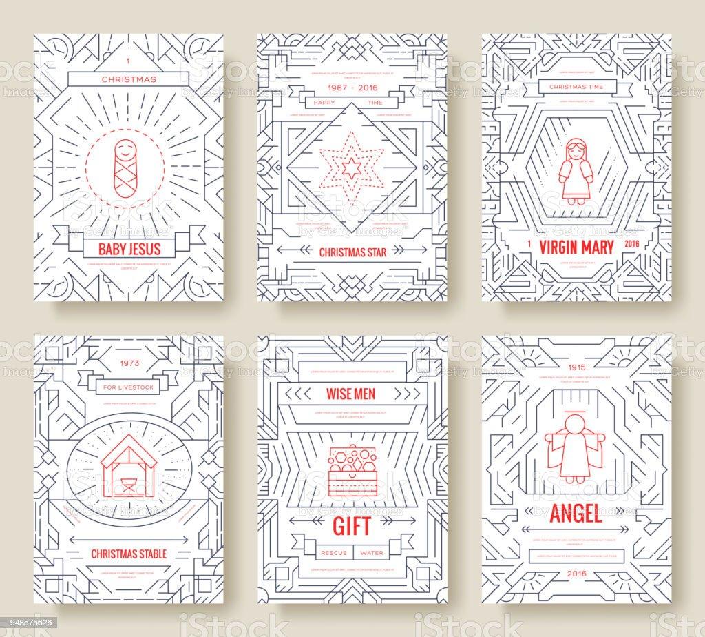 Frohe Weihnachten Dünne Linie Vektor Broschüre Karten Festgelegt