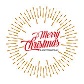 Vector Illustration with a beautiful and season festive message of Merry Christmas title hipster typography with a Golden Sun Bursts Rays