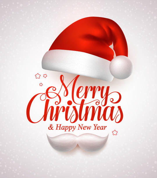 Merry christmas title typography vector concept in red with hat Merry christmas title typography vector concept in red with christmas hat and santa white beard in a white snow background. Vector illustration santa hat stock illustrations
