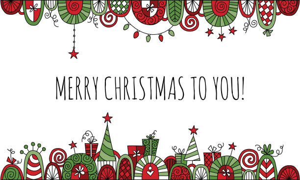 Merry Christmas to You with Hand Drawn Vector Doodle Border Christmas border doodle illustration with the words merry Christmas to you! on a white background australian christmas stock illustrations