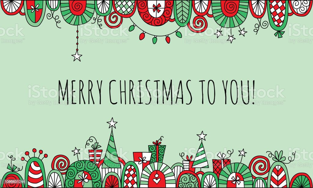 Merry Christmas to You with Hand Drawn Vector Doodle Border vector art illustration