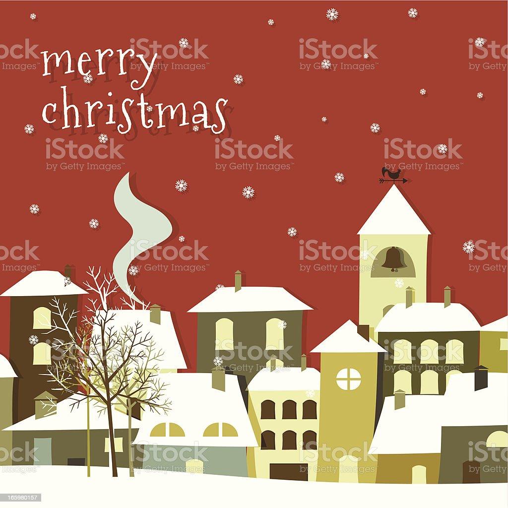 Merry christmas town vector art illustration