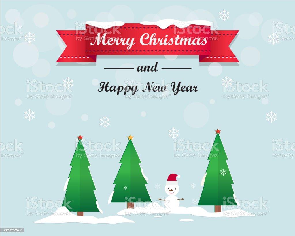 Merry Christmas Tree Und Frohes Neues Jahr Grußkarte Hintergrund ...