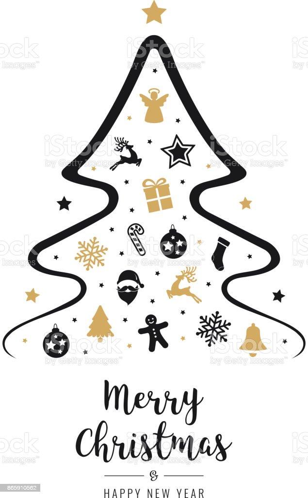 Karte Frohe Weihnachten.Frohe Weihnachten Baum Symbol Elemente Text Gruß Karte Isoliert