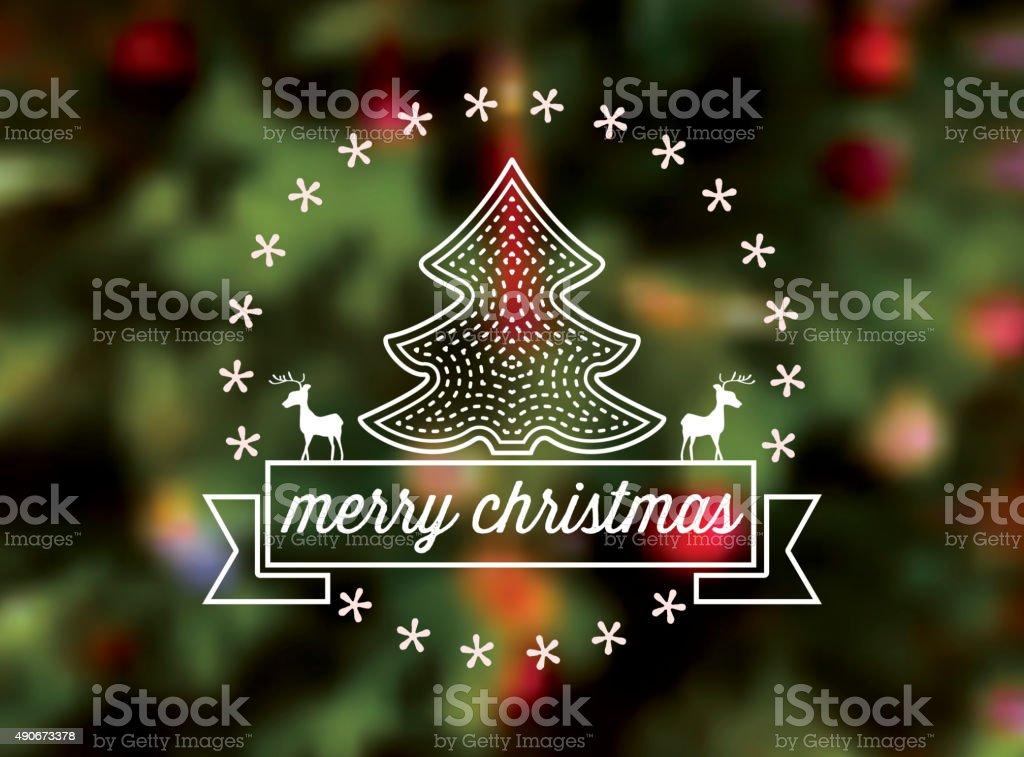 メリークリスマスツリー線アイコンをぼかした緑色の背景 ベクターアートイラスト