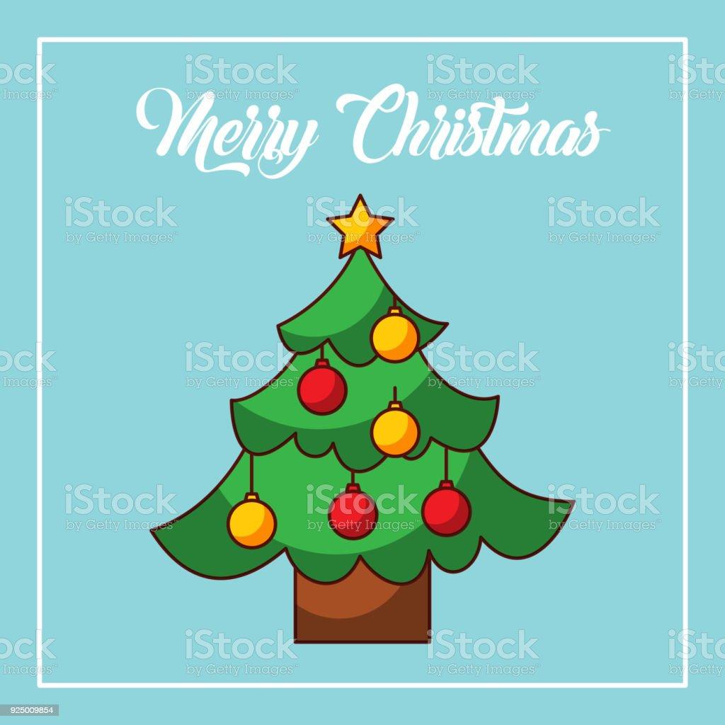 merry christmas tree pine decoration balls star celebration vector art illustration