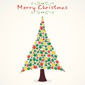 merry Christmas tree design with hand vector
