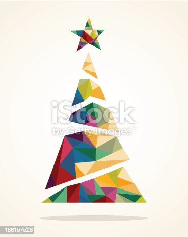 Isolated Merry Christmas colorful abstract tree, decoration star with geometric composition. EPS10 vector file organized in layers for easy editing..