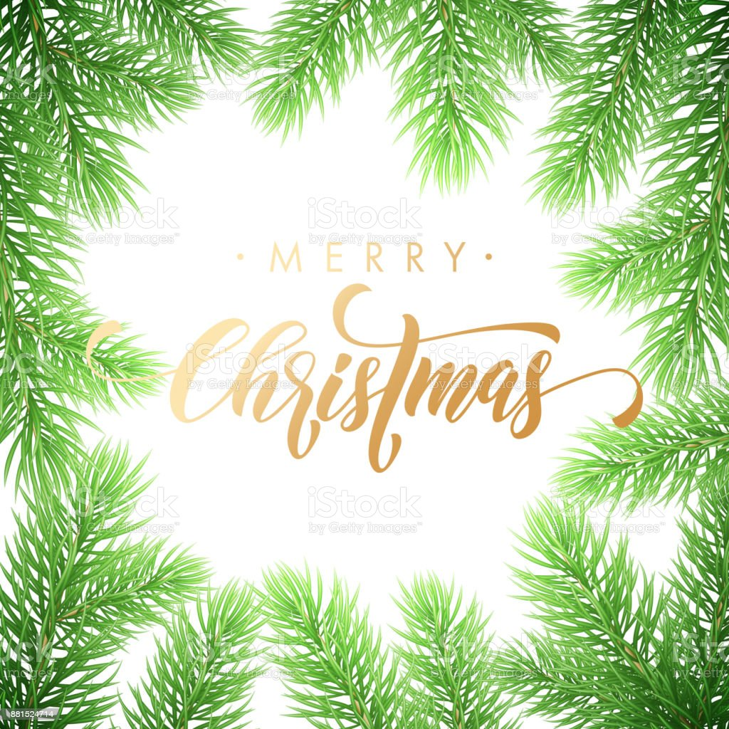 Merry Christmas Trendy Golden Quote Calligraphy Font On White ...