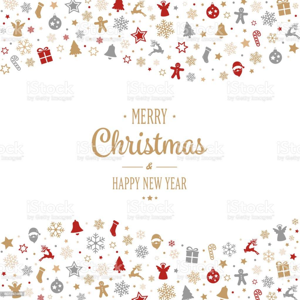 merry christmas type decoration ornament border vector art illustration