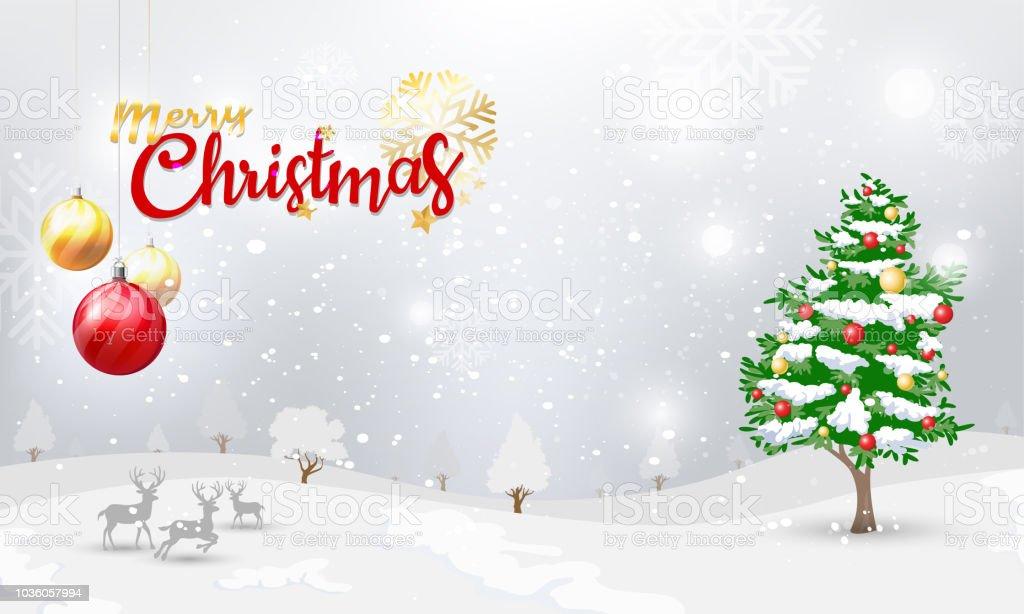 Ilustración de Feliz Navidad Tipográfico Y Adornos De Navidad Con ...