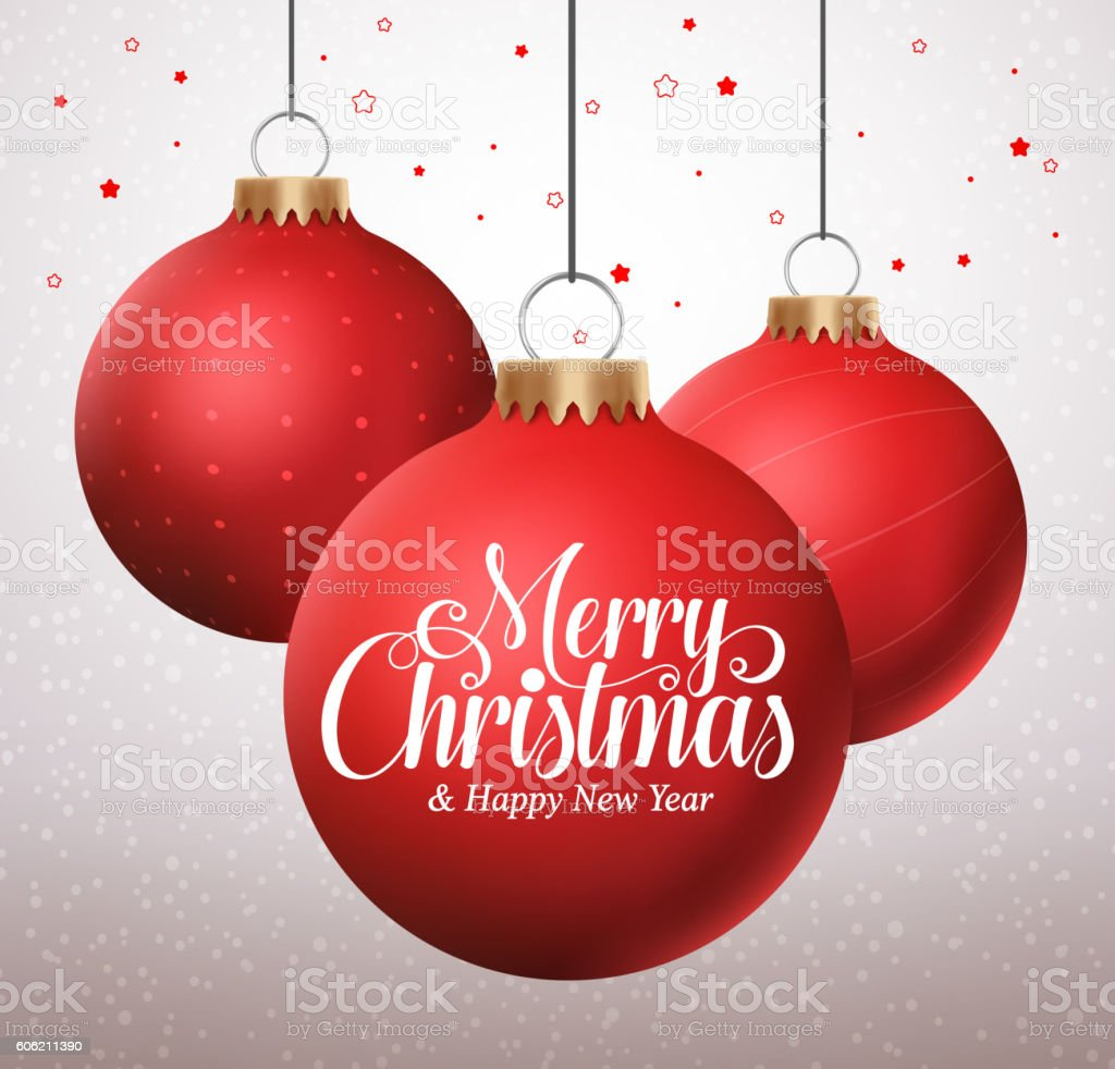 Merry christmas typography greetings in a hanging red christmas balls vector art illustration