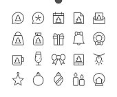 Merry Christmas UI Pixel Perfect Well-crafted Vector Thin Line Icons 48x48 Ready for 24x24 Grid for Web Graphics and Apps with Editable Stroke. Simple Minimal Pictogram Part 1-2