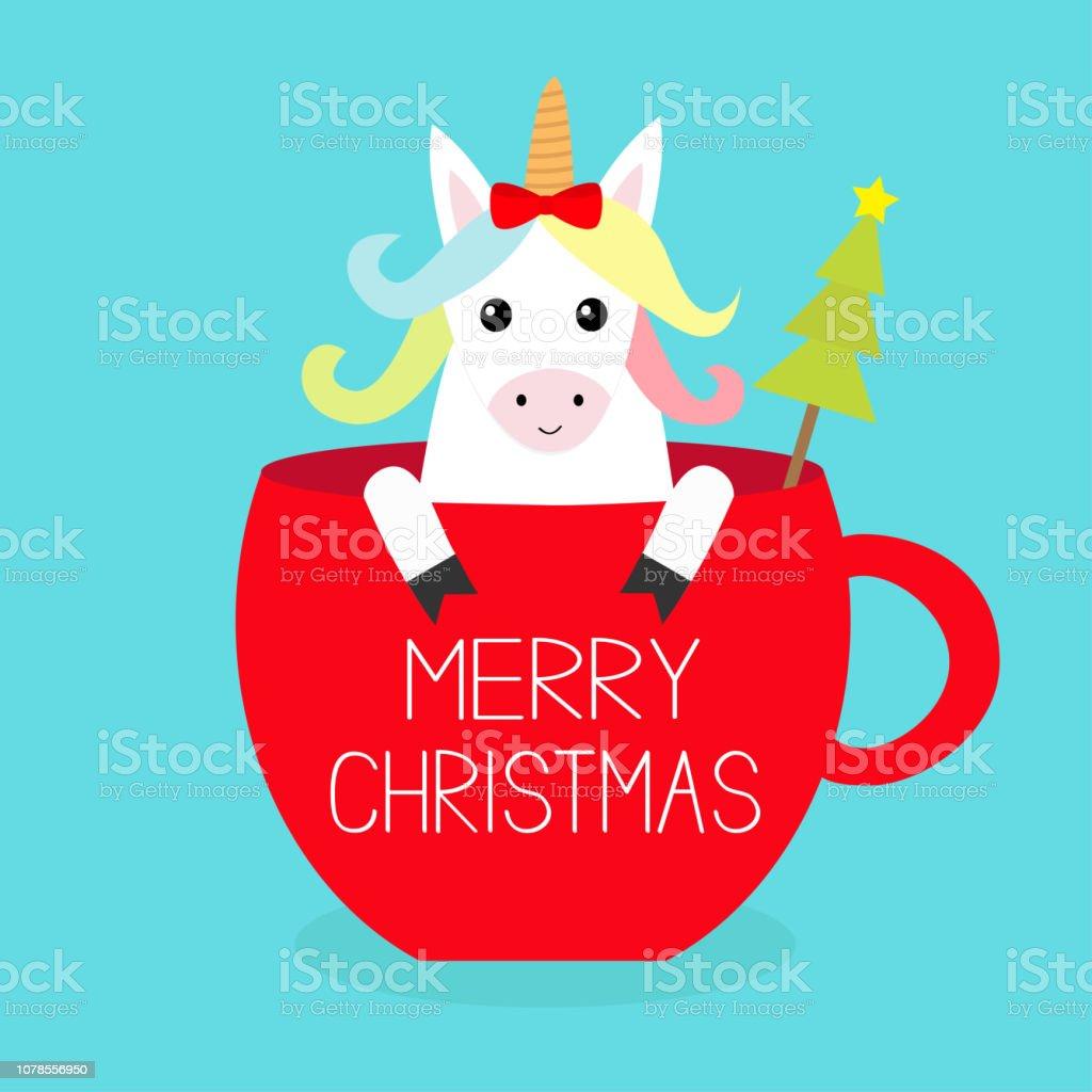 Frohe Weihnachten Pferd.Frohe Weihnachten Einhorn Pferd Sitzen In Rote Kaffee Tasse Teetasse