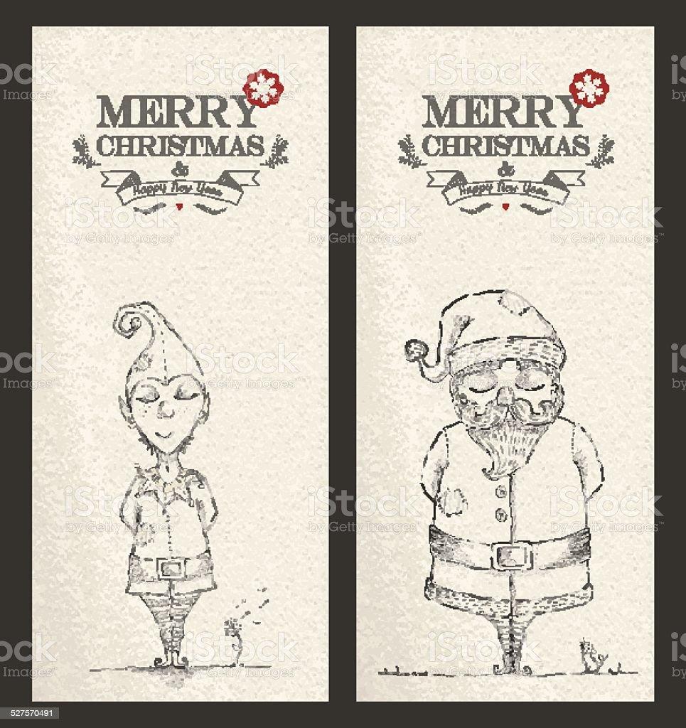 Merry Christmas unique hand drawn banner set vector art illustration