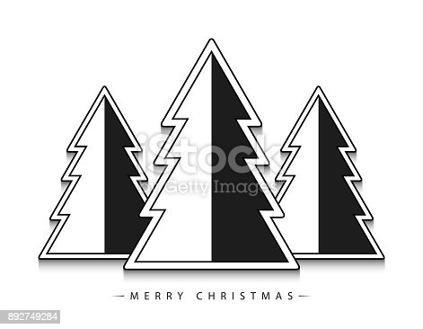 istock Merry Christmas! Vector abstract geometric black and white Christmas trees with black outline on white background. 892749284