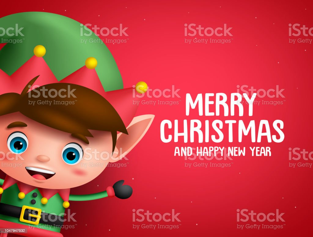 merry christmas vector background template with boy elf character