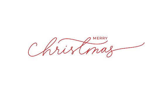 Merry Christmas vector brush pen red lettering. Hand drawn modern line calligraphy isolated on white background.