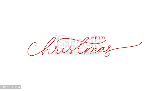 Merry Christmas vector brush pen red lettering. Hand drawn modern line calligraphy isolated on white background. Christmas ink illustration. Creative typography for Holiday greeting card, banner