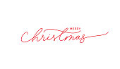 istock Merry Christmas vector brush pen red lettering. Hand drawn modern line calligraphy isolated on white background. 1271311294