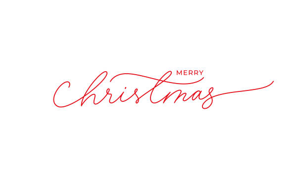 Merry Christmas vector brush pen red lettering. Hand drawn modern line calligraphy isolated on white background. Merry Christmas vector brush pen red lettering. Hand drawn modern line calligraphy isolated on white background. Christmas ink illustration. Creative typography for Holiday greeting card, banner single word stock illustrations
