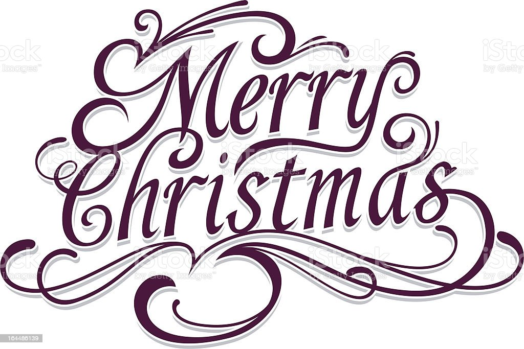 Merry Christmas Vector Calligraphic Lettering royalty-free stock vector art