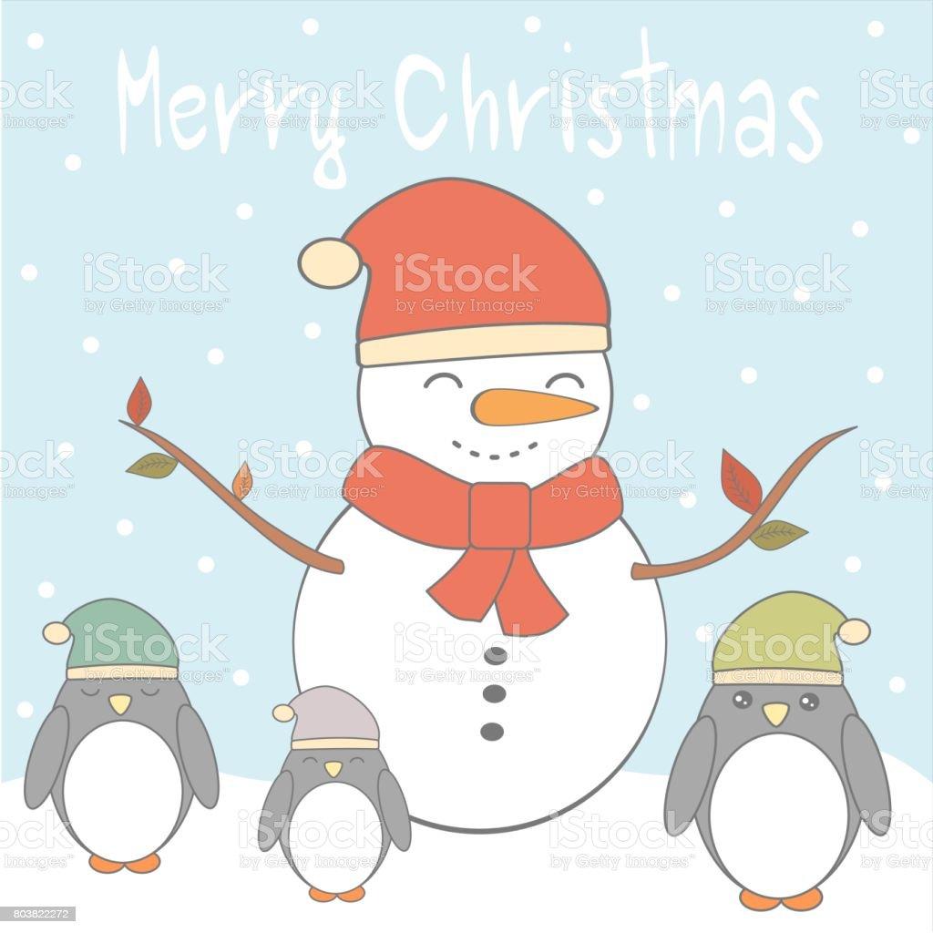 Vetores De Cartao De Vetor Natal Feliz Com Pinguins Coloridos