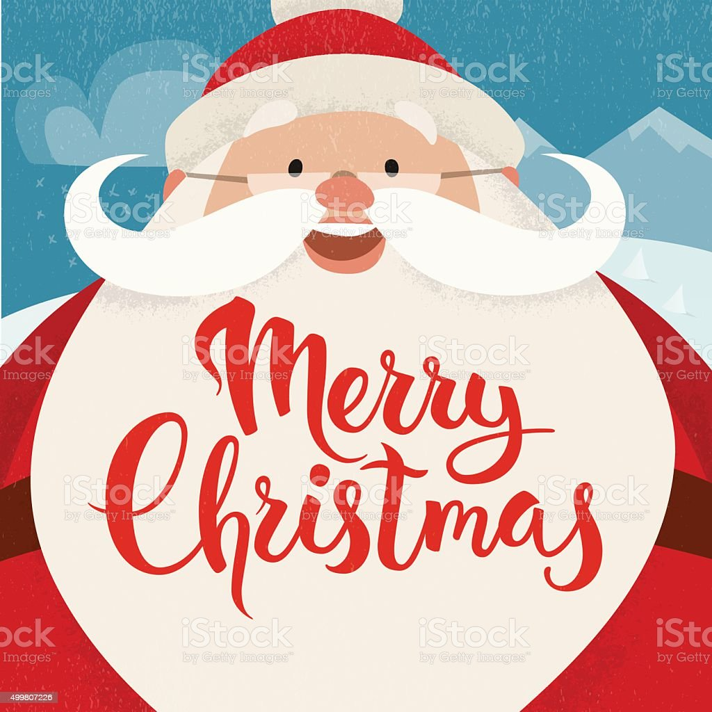 Merry Christmas Vector Card With Funny Christmas Character Stock ...
