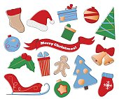 Merry Christmas vector clipart. Festive set of winter holiday icons on white background.