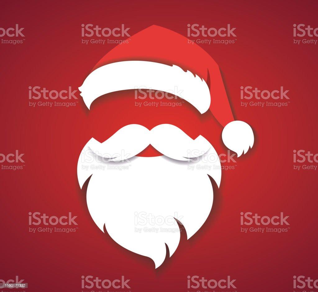 allegro natale vettore concetto rosso con cappello di Natale e santa barba bianca illustrazione eps10 - arte vettoriale royalty-free di Adulto