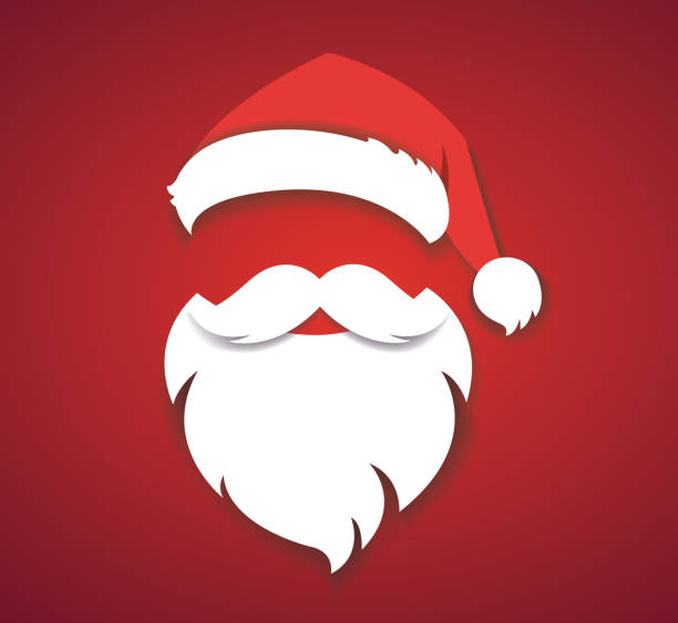 stockillustraties, clipart, cartoons en iconen met merry christmas vector concept rood met kerstmuts en santa witte baard illustratie eps10 - kerstmanhoed