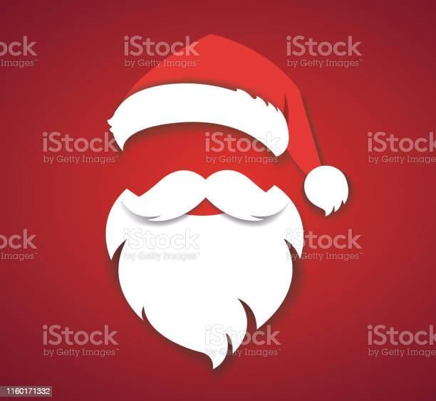 Allegro Natale Vettore Concetto Rosso Con Cappello Di Natale E Santa Barba Bianca Illustrazione Eps10 - Immagini vettoriali stock e altre immagini di Adulto