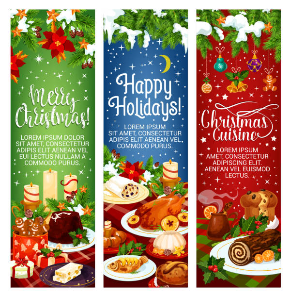 Merry Christmas vector dinner cuisine banners Merry Christmas and Happy Holidays greeting banners for Christmas cuisine dinner invitation design. Vector Christmas tree decoration, candy cakes or cookie and pies, roasted chicken and holly wreath christmas dinner stock illustrations
