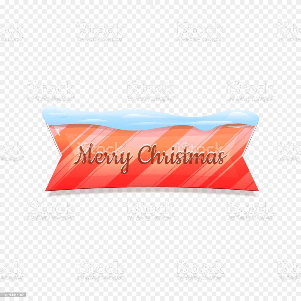 Merry Christmas. Vector Festive Banner Isolated on White Background. Colorful Banner with Snow on Top. Ribbon Colorful Sign with Lines.