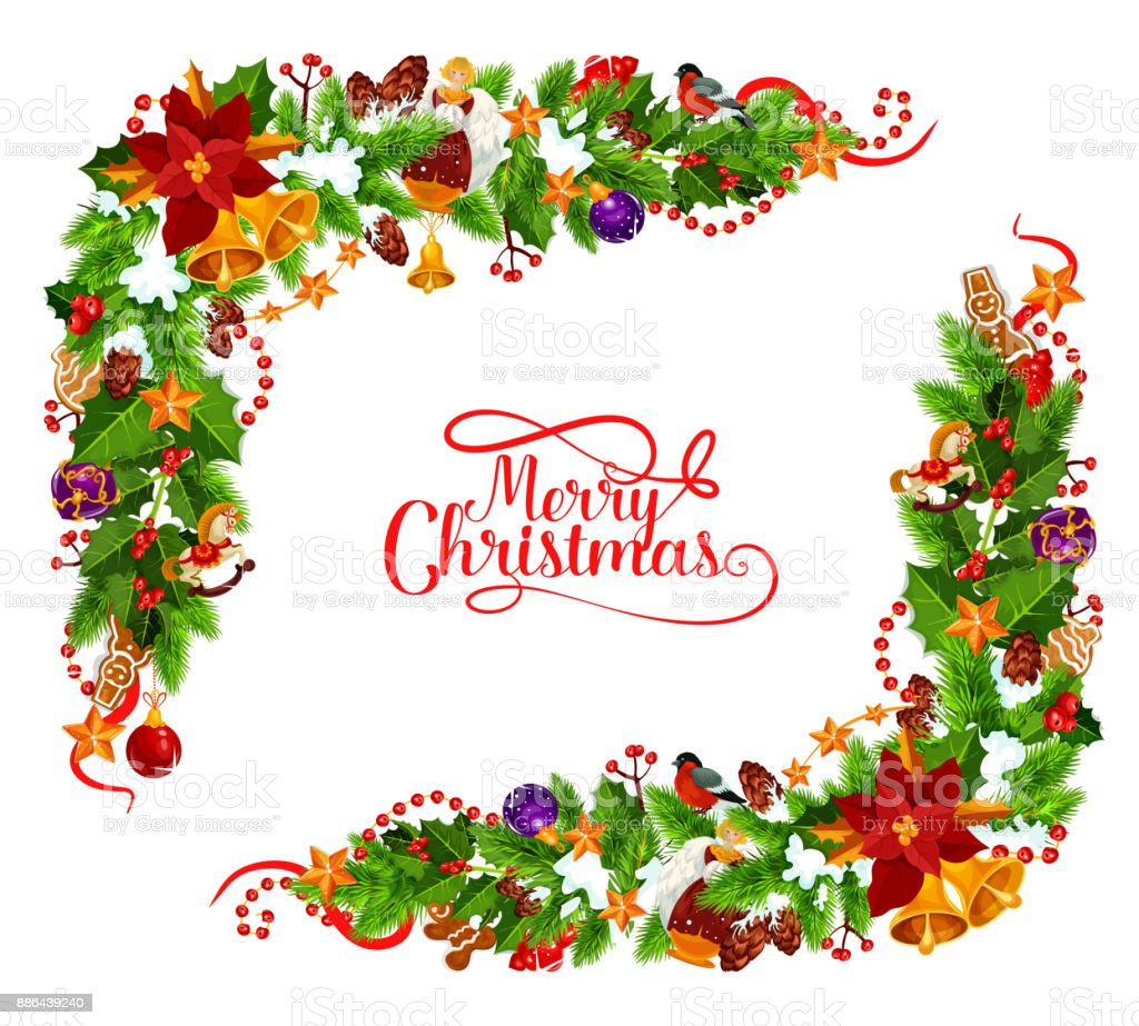 Merry Christmas Vector Frame Decoration Stock Vector Art & More ...