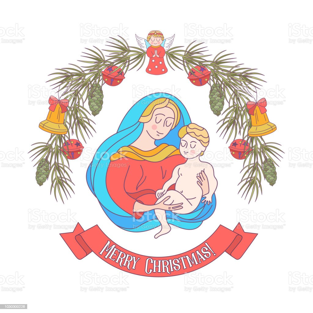 Merry Christmas Vector Greeting Card The Virgin Mary And The Baby ...