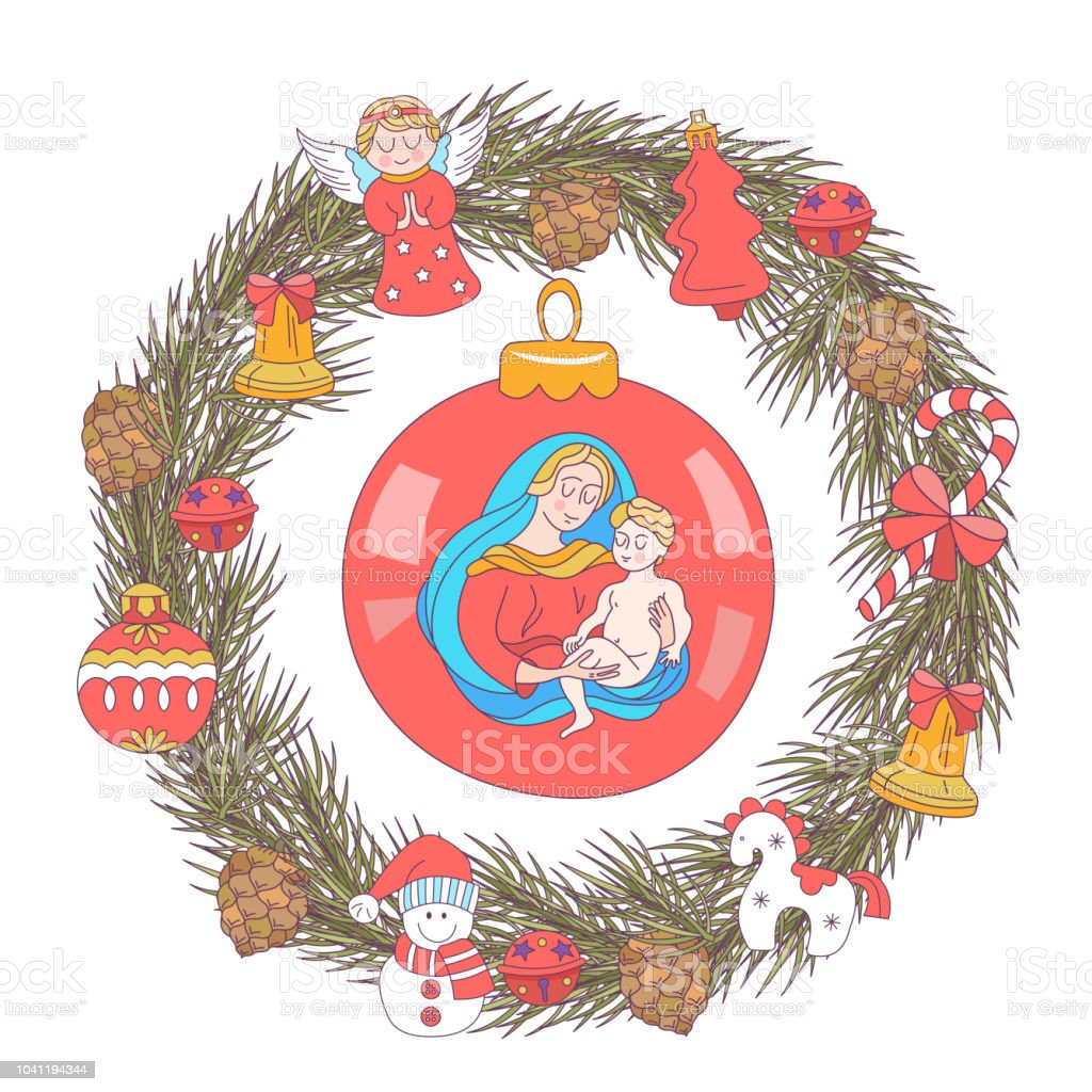 Christmas Toys.Merry Christmas Vector Greeting Card Wreath Of Christmas Trees Decorated With Christmas Toys The Virgin Mary Is Holding The Baby Jesus Stock