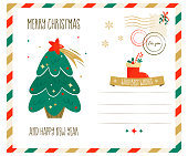 Merry Christmas greeting postcard with Christmas eve and elements