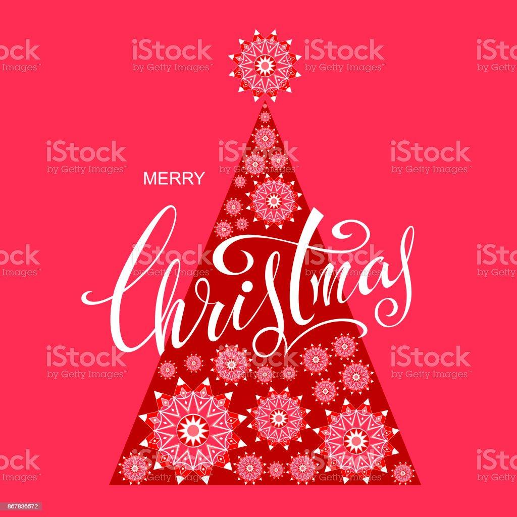 Frohe Weihnachten. Vektor Gruß Poster mit stilisierten Weihnachten Sterne, Tannenbaum und lassen auf rotem Grund. – Vektorgrafik