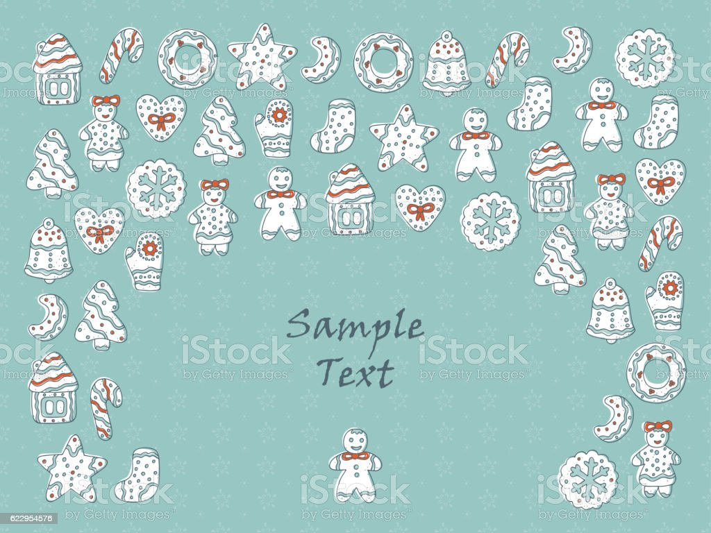 Merry Christmas Vector Holiday card template with different Gingerbreads vector art illustration