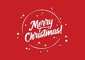 Merry Christmas! Vector Holiday Template. Festive Red Background. Calligraphy Greeting Card. Text with White Rounded Frame for Xmas Banner, Postcard, Event Invitation, Poster. Hand Drawn Lettering.