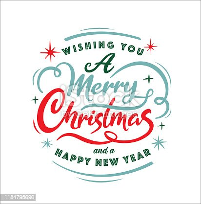 Merry Christmas and Happy New Year lettering design