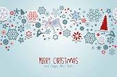 Christmas vector elements: Snowflakes, reindeer, christmas tree and moose.