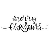 Merry Christmas card. Hand drawn greeting phrase. Modern brush calligraphy. Isolated on white background.