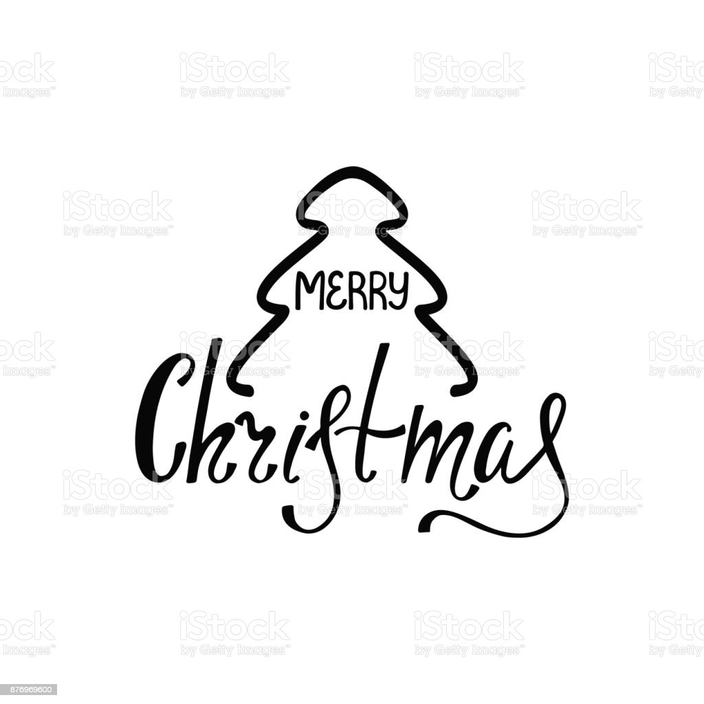 Merry Christmas Illustration.Merry Christmas Handdrawn Inscription For Greeting Card Or